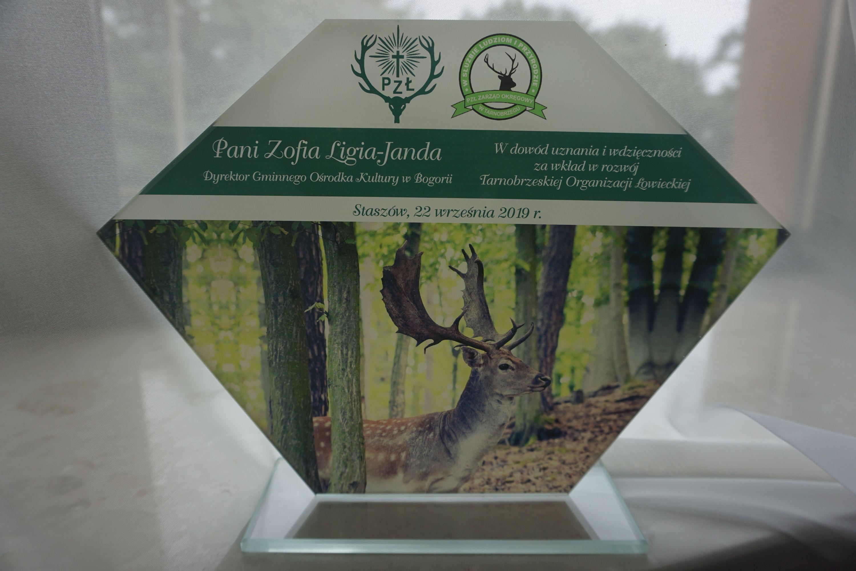 Podziękowania dla Dyrektor GOK Bogoria od Tarbnobrzeskiej Organizacji Łowieckiej