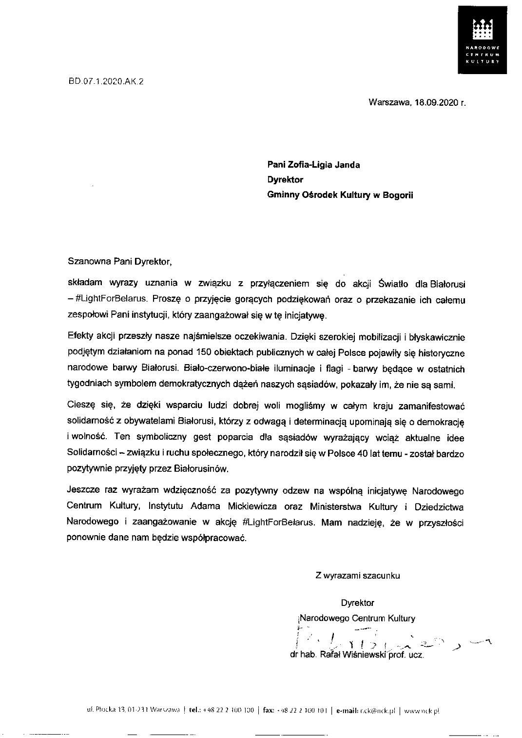 Podziękowania za udział w akcji - Światło dla Białorusi