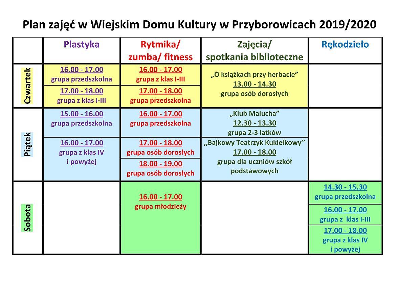 Plan zajęć - Wiejski Dom Kultury w Przyborowicach 2019