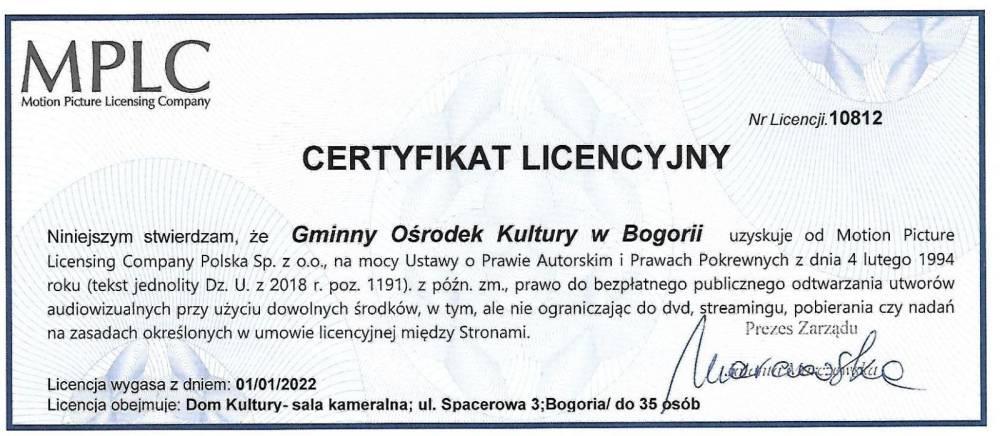 Kolejny certyfikat licencyjny dla Domu Kultury w Bogorii
