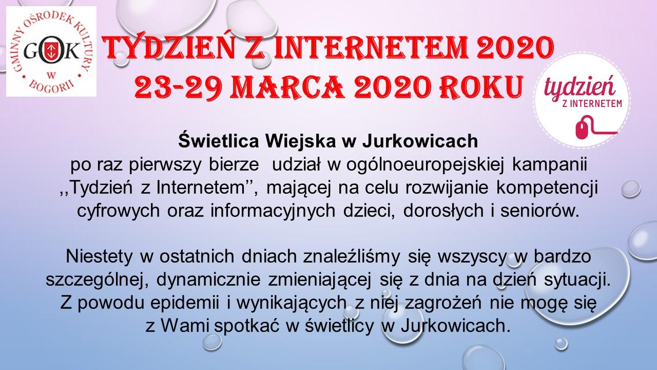 Tydzień z Internetem 2020 w Świetlicy Wiejskiej w Jurkowicach